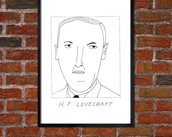Badly Drawn H.P. Lovecraft - Literary Poster - *** BUY 4, GET A 5th FREE***