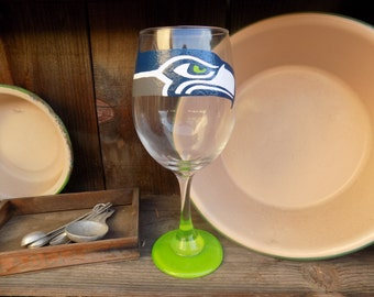 Hand Painted Seattle Seahawks Wine Glass