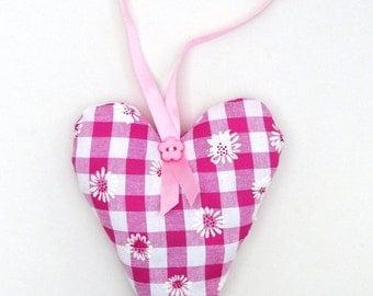 Hanging Fabric Heart, Handmade Wall Decor, Heart Valentine Gift, Filled Hanging Heart, Decorative Heart, Cottage Chic Hanger,Door Decoration