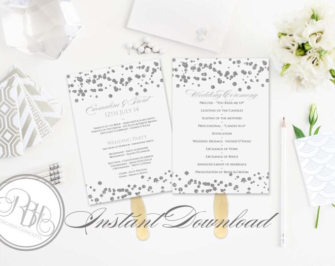 Silver Sparkle Wedding Program Fan Template -Instant DOWNLOAD - EDITABLE TEXT pdf Only - Silver Sparkle Polka Dots 5 x 7-Elizabeth