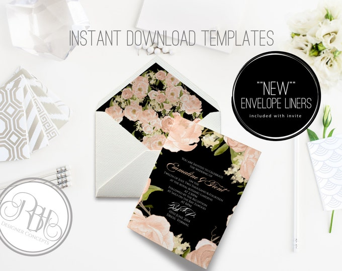 Peonies Wedding Invitation/Envelope Liner/INSTANT DOWNLOAD Template/5x7/PDF/Psd Editable Text Only/Peach Watercolor Peonie/-Nadine