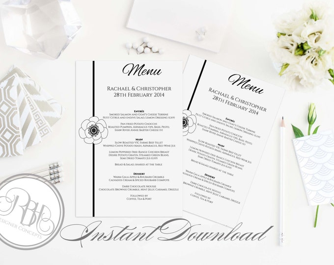 """Wedding Menu Template INSTANT DOWNLOAD -DIY Text Editable Only- Black & White Design with Anemone Flower - """"Felicity Menu Card"""""""
