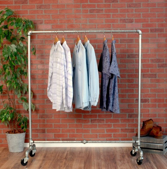 Industrial Pipe Clothing Rack Wheels Galvanized Silver