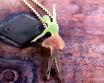 Ballerina charm necklace, Dancer Necklace Pendant, Ballerina Necklace, Ballet Dancer Silhouette, Gift for Dancer, My Little Dancer, Hand Cut