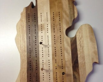 CRIBBAGE BOARD 13 3/4 x 11 inch Michigan MITTEN End Grain Hardwoods - 2 or 3 player board available!