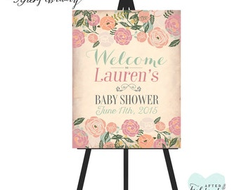 Printable Welcome Sign // Spring Summer Floral Shabby // Printable No.734
