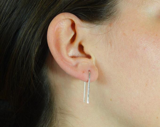 Silver Open Hoop Earrings, Horseshoe Earrings, Arc Earrings, Simple Earings, Silver Arc Earrings, Open Hoop Earrings, Delicate Earrings