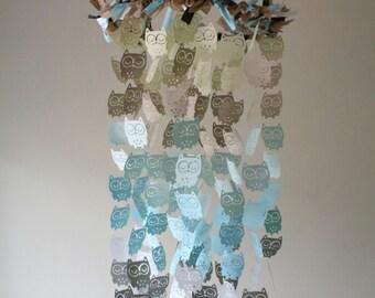 Owl Nursery Mobile – Sweet Dreams Chandelier Owl Mobile in Burlap Tan, Baby Blue and Grey – Owl Mobile – Crib Mobile – Nursery Mobile - Gift