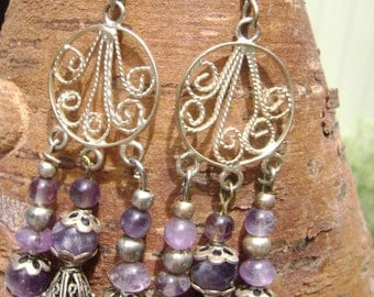 Silver and Amythest Chandelier Earrings