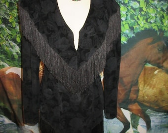 Vintage 1980s Calamity Jane Black Lace Fringed Western Wiggle Dress