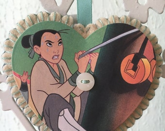 Vintage Disney Felt Heart Decoration - Mulan