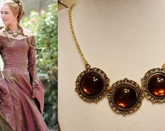 Game of Thrones Cersei Lannister Necklace Circle bib Renaissance Medieval Steampunk Goth Fantasy Elven