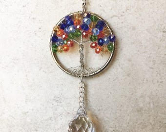 Rear View Mirror Car Charm,Chakra Crystal Sun Catcher,Tree Of Life Window Ornament,Crystal Ball Prism,Car Decor,Feng Shui,Mirror Hanging