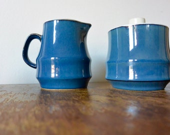 Blue Sugar Bowl and Creamer Set