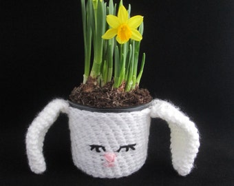 Easter Bunny Handmade Crocheted Potted Plant Cover/Easter Decor/Homeware/Housewarming Gift