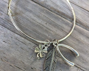 Good Luck bracelet, Wishbone Bracelet, Feather Bangle, Charm bracelet