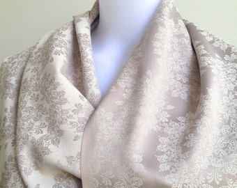 Champne and Gray Two Sided Shawl, Semi-Gloss Silk Looking Scarf, Floral Pattern Wedding Shawl, Jacquard Woven Reversible Shawl,Evening Shawl