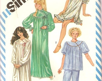 VINTAGE Simplicity Sewing Pattern 6174 - Women's Clothes - Pajamas & Nightgown, Size 14-16