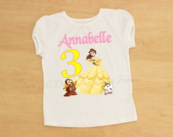 Belle Birthday Outfit, Belle Tutu,Belle Outfit,Belle Personalized Shirt,Girls Belle Shirt,Princess Shirt,Belle Birthday,Beauty and the Beast