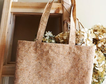 Cork Fabric Tote Bag – Market Tote – Cork Tote – Eco Bag – Gift for Her - Handmade Tote Bag   (BG01-1-1315)