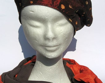 women fabric basque shiny orange, one of a kind beret ,fabric basque for spring, ladies tam beret,