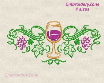 Grape with leaves decor ornament machine Embroidery design. 4 sizes Hoop 5x7 6x10 7x11. Vine decor for towel or napkins