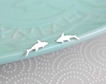 Sterling Silver Shark Earrings