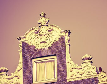 """Amsterdam Gables - Travel Photography - Amsterdam Canal Houses - Windows - Architecture - Home Decor - Neutral - Brown - Beige - """"1728"""""""