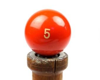 """Number 5 Old Phenolic Resin Billiard Ball Size 2.25"""" Pocket Balls Five V Orange Color Game Pool Solid Solids Set"""
