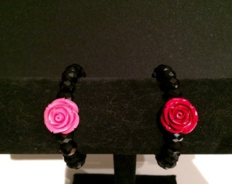 Black Glass Bead with Pink or Red Rosette Bracelet