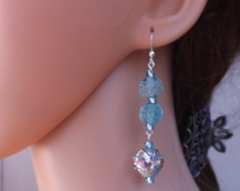 Cool blue dangle earrings, summer earrings, sea earrings - with sterling silver ear wires