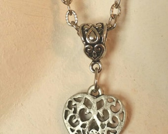 Pewter Heart Charm On Silver Plated Chain Necklace