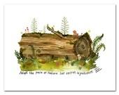 Nurse Log Art Print, Tree Wall Art, Biology, Science Art, Watercolor Painting, Ralph Waldo Emerson, Inspirational Quote