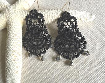 Lace Chandelier Earrings - Beaded Lace Earrings - Black Lace Earrings - Simple Lace Earrings - Lace and Bead Earrings - Black Lace Wedding