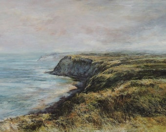 Seaside Summer Cliffs Beach Seascape Ravenscar, Scarborough Coast Signed Limited Edition Print from Original Art Print