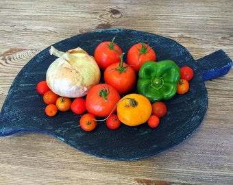 Shabby Chic Fruit & Vegtable Bowl, Wood Distressed Table Decor Center Piece, Recycled Vintage KitchenServing Tray