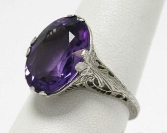 Filigree Antique Amethyst Ring Victorian Edwardian 1915 Dinner Rings Oval Purple Gemstone Vintage Jewelry Fleur Di Lis Leaves Engraved Gold