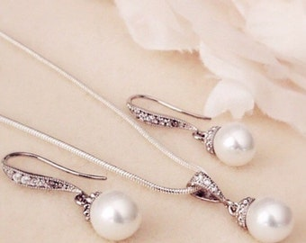 Bridesmaid Gift Set Pearl Wedding Jewelry Set Bridal Jewelry Set Bridesmaid Jewelry wedding earrings and necklace set bridal party gift