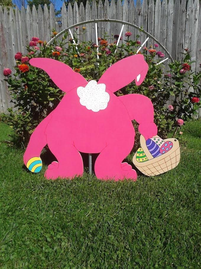 Easter bunny outdoor wood yard art easter decor lawn for Wooden garden ornaments and accessories