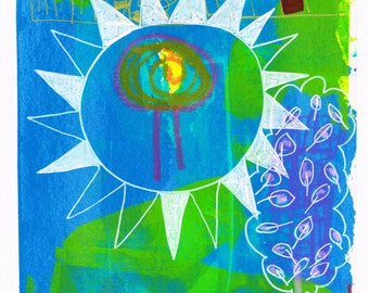 I see a tree in the sun, original painting, mixed media, on paper on canvas (30x24 cm)