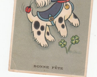 "Spotted Terrier Wearing Coat ""Bonne Fete"" Ladybug On Tail,Clover Growing, Dog Postcard"