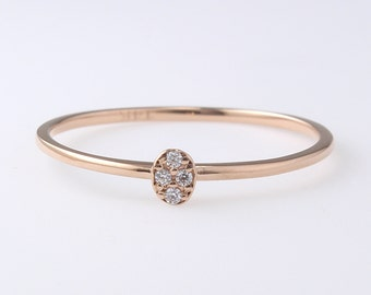 14K Gold Thin Diamond Band, Engagement Ring, Simple Diamond Ring, Diamond Ring, Wedding Band, Stacking Ring, Diamond Wedding Band,