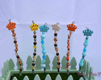 Fairy Garden Stake, Miniature Garden Stake, Miniature lawn Ornament, Pink Fairy Garden Stake, Glass Bead Garden Stake, fairy lawn decoration