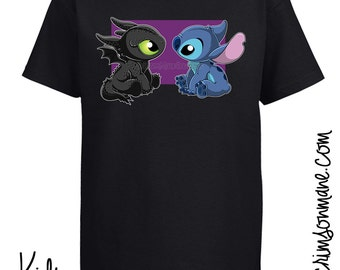 Baby Toothless Dragon and Stitch T-Shirt
