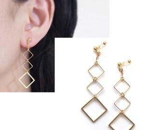Gold Clip On Earrings,Dangle Clip Earrings, Invisible Clip On Earrings, Gold Square Clip-ons, Long Clip On Earrings, Non Pierced Earrings