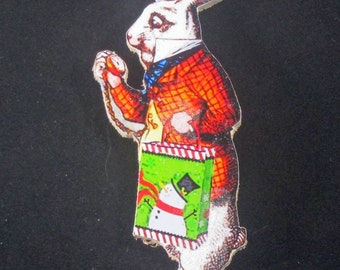 White Rabbit, Handcrafted Wood, Christmas Ornament, Alice in Wonderland, Pocket Watch, Kids' Ornament, Lewis Carroll, Bunny Ornament,
