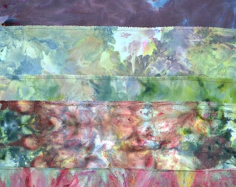 One of a kind textile wall art - original dyed textile art ready to hang - earth, forest, sky inspired