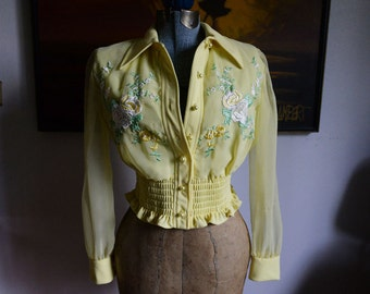 Small - Super Cute Vintage Yellow Jacket