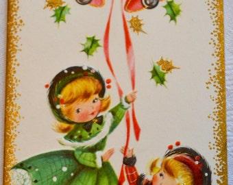 Vintage Christmas Card - Little Girls Ringing Bells  - Unused