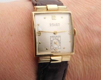 Gruen Mechanical Yellow Gold Filled Wrist Watch 8 Inch